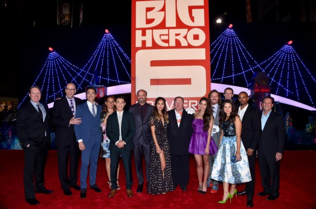 "HOLLYWOOD, CA - NOVEMBER 04:  (L-R) Director Don Hall, producer Roy Conli, actors Daniel Henney, Maya Rudolph, Ryan Potter, Scott Adsit, Jamie Chung, Chief Creative Officer at Pixar, Walt Disney Animation Studios, and DisneyToon Studios John Lasseter, actors Genesis Rodriguez, T.J. Miller, Director Chris Williams, Katie Lowes, Damon Wayans Jr. and  Head of Disney Animation Andrew Millstein, attend the Los Angeles Premiere of Walt Disney Animation Studios' ""Big Hero 6"" at El Capitan Theatre on November 4, 2014 in Hollywood, California.  (Photo by Alberto E. Rodriguez/Getty Images for Disney) *** Local Caption *** Daniel Henney;Ryan Potter;Maya Rudolph;Scott Adsit;Jamie Chung;Genesis Rodriguez;T.J. Miller;Katie Lowes;Damon Wayans Jr.;Katie Lowes;Roy Conli;John Lasseter;Don Hall;Chris Williams;Andrew Millstein"