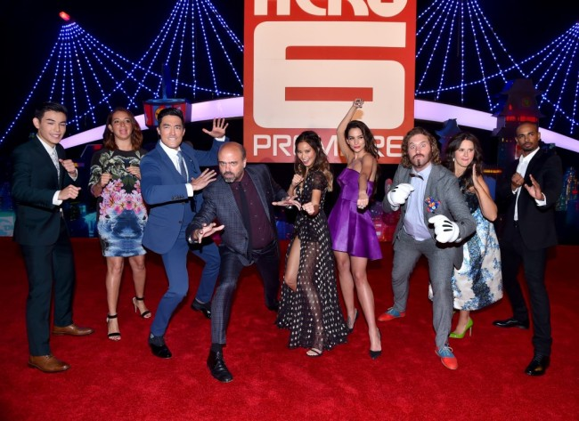 "HOLLYWOOD, CA - NOVEMBER 04:  (L-R) Actors Ryan Potter, Maya Rudolph, Daniel Henney, Daniel Adsit, Jamie Chung, Genesis Rodriguez, T.J. Miller, Katie Lowes and Damon Wayans Jr. attend the Los Angeles Premiere of Walt Disney Animation Studios' ""Big Hero 6"" at El Capitan Theatre on November 4, 2014 in Hollywood, California.  (Photo by Alberto E. Rodriguez/Getty Images for Disney) *** Local Caption *** Ryan Potter;Maya Rudolph;Daniel Henney;Daniel Adsit;Jamie Chung;Genesis Rodriguez;T.J. Miller;Katie Lowes;Damon Wayans Jr."