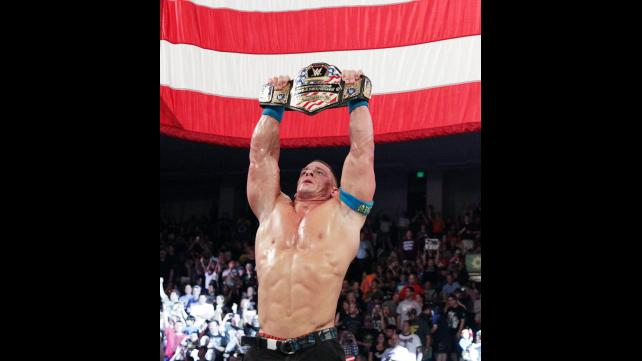WWE Cena wins match American flag