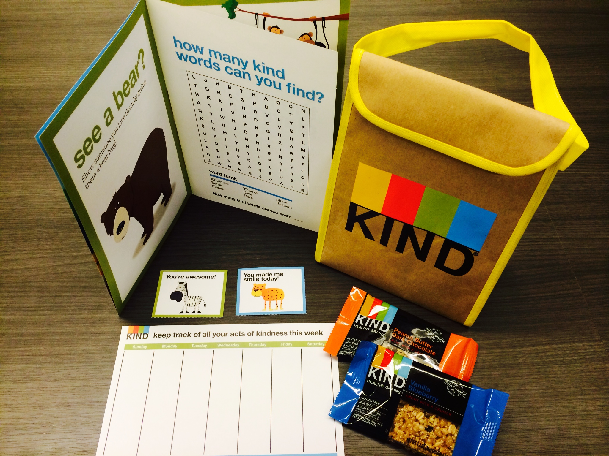 KIND Kindness Kit that guests will receive as a gift to take home.