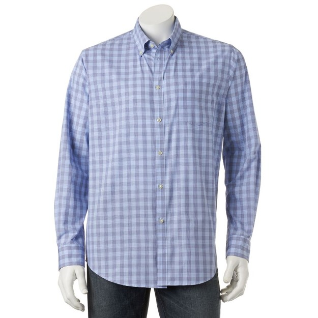 Van Heusen Traveler Blues Patterned Performance Casual Button-Down Shirt_Blue_Sodalite