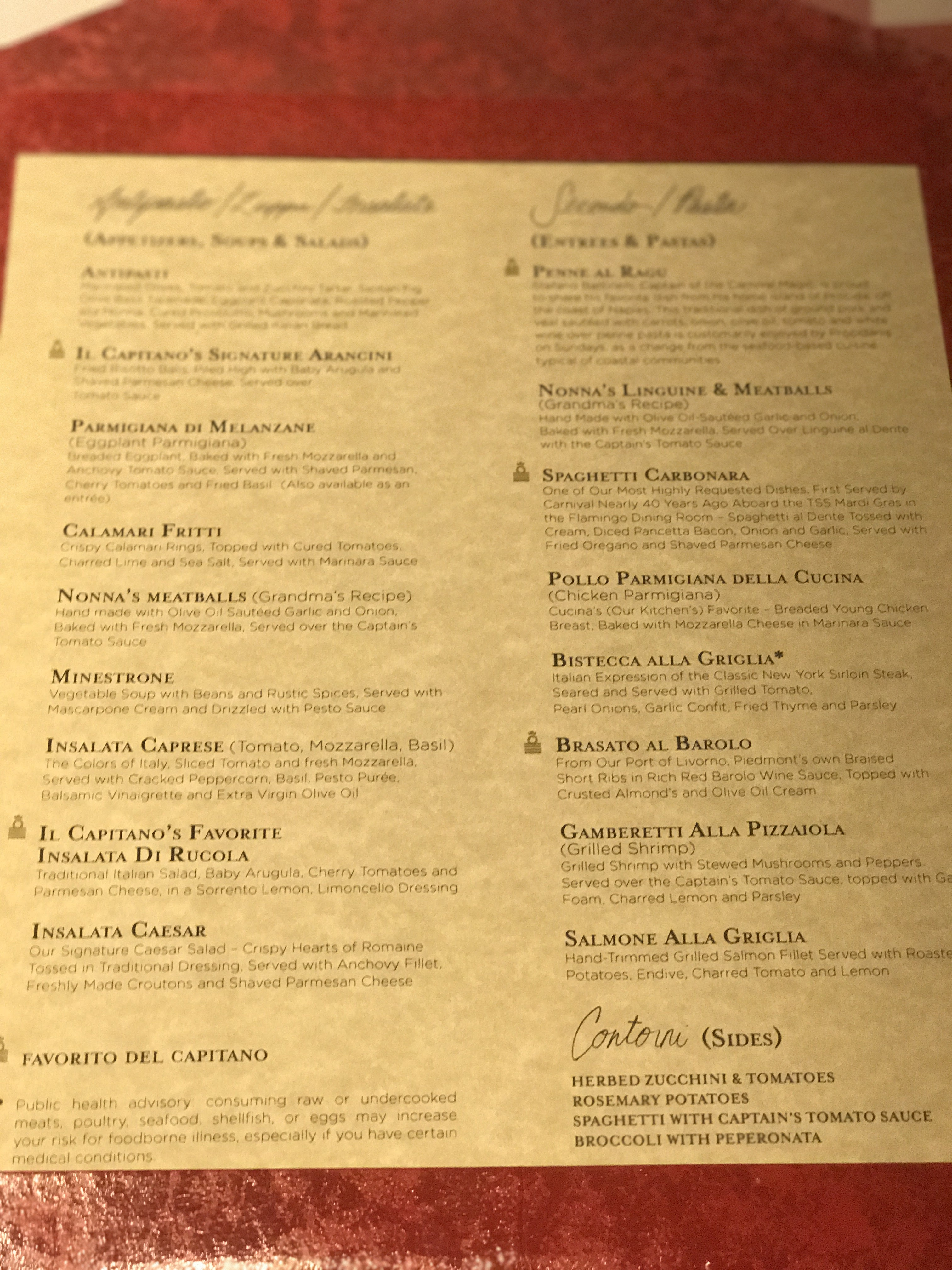 Our cucina del capitano dining experience for Menu cucina